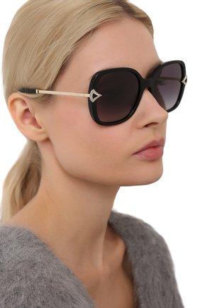 Женские солнцезащитные очки BVLGARI черного цвета, арт. 8217B-501/8G   Фото 2