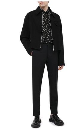 Мужские шерстяные брюки DRIES VAN NOTEN черного цвета, арт. 211-20921-2227 | Фото 2