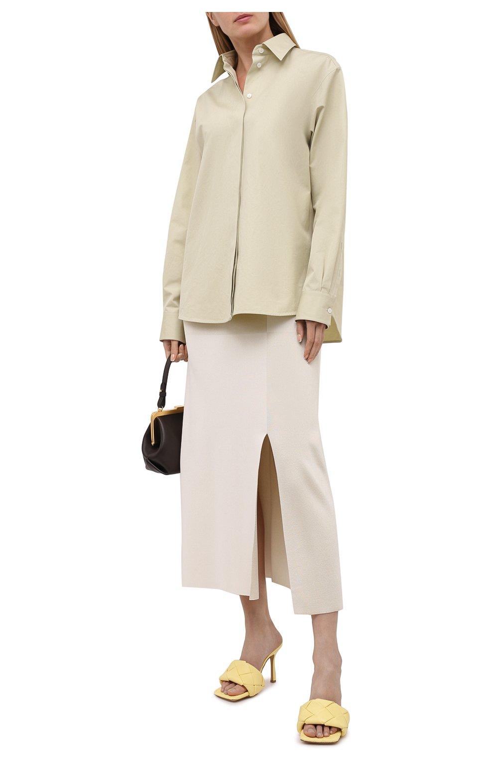 Женские кожаные мюли lido BOTTEGA VENETA желтого цвета, арт. 608854/VBSS0 | Фото 2 (Каблук высота: Высокий; Материал внутренний: Натуральная кожа; Каблук тип: Шпилька; Подошва: Плоская)