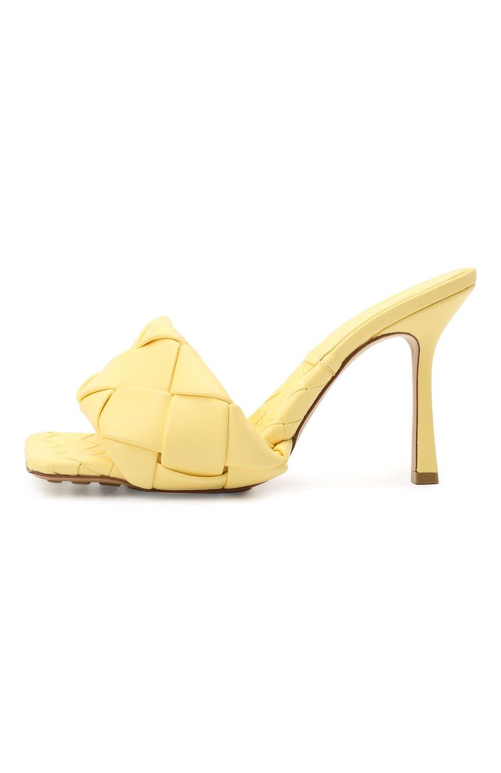 Женские кожаные мюли lido BOTTEGA VENETA желтого цвета, арт. 608854/VBSS0 | Фото 3 (Каблук высота: Высокий; Материал внутренний: Натуральная кожа; Каблук тип: Шпилька; Подошва: Плоская)
