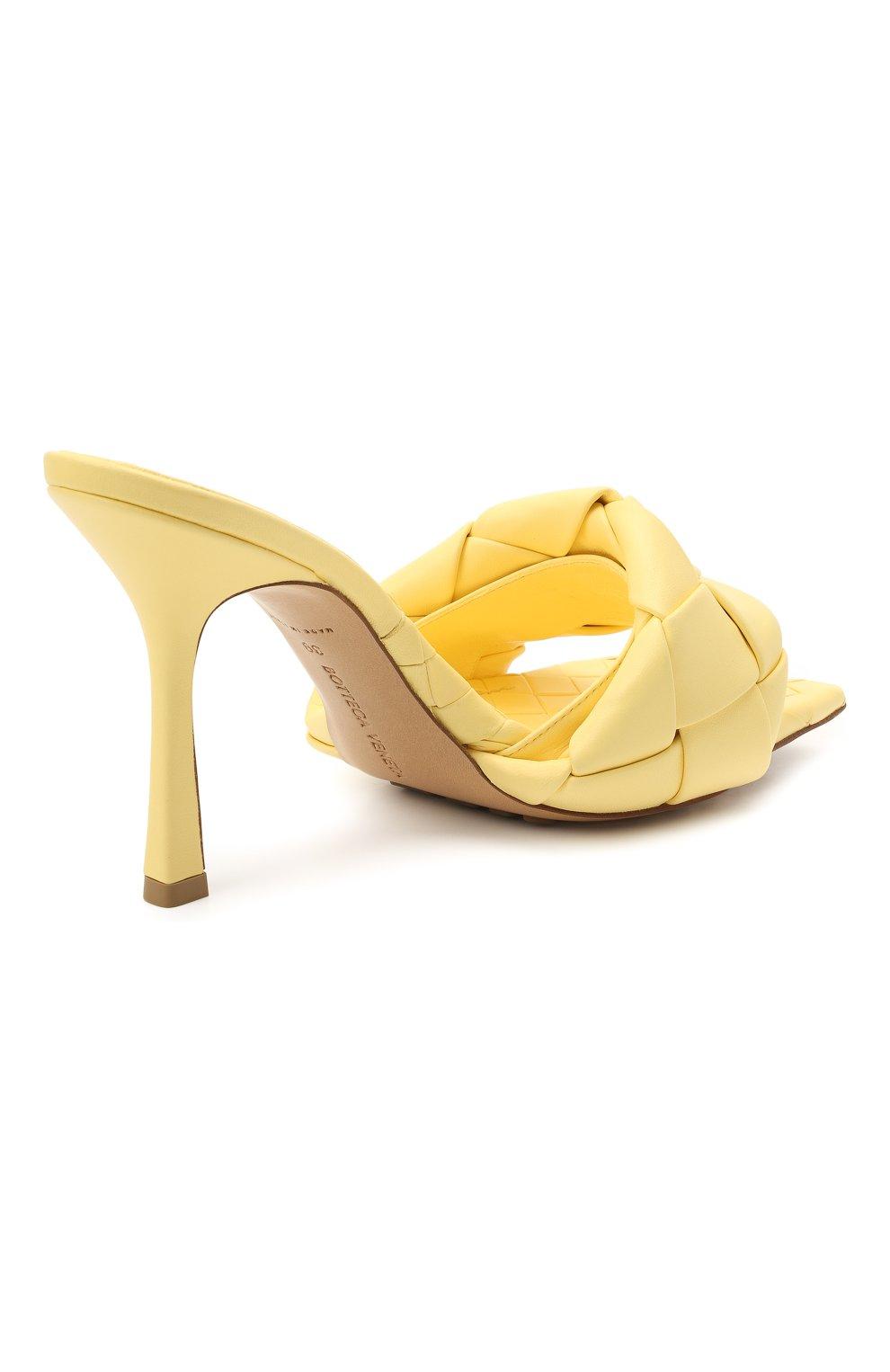 Женские кожаные мюли lido BOTTEGA VENETA желтого цвета, арт. 608854/VBSS0 | Фото 4 (Каблук высота: Высокий; Материал внутренний: Натуральная кожа; Каблук тип: Шпилька; Подошва: Плоская)