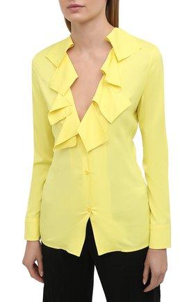 Женская блузка из вискозы BOTTEGA VENETA желтого цвета, арт. 646584/V01N0   Фото 3