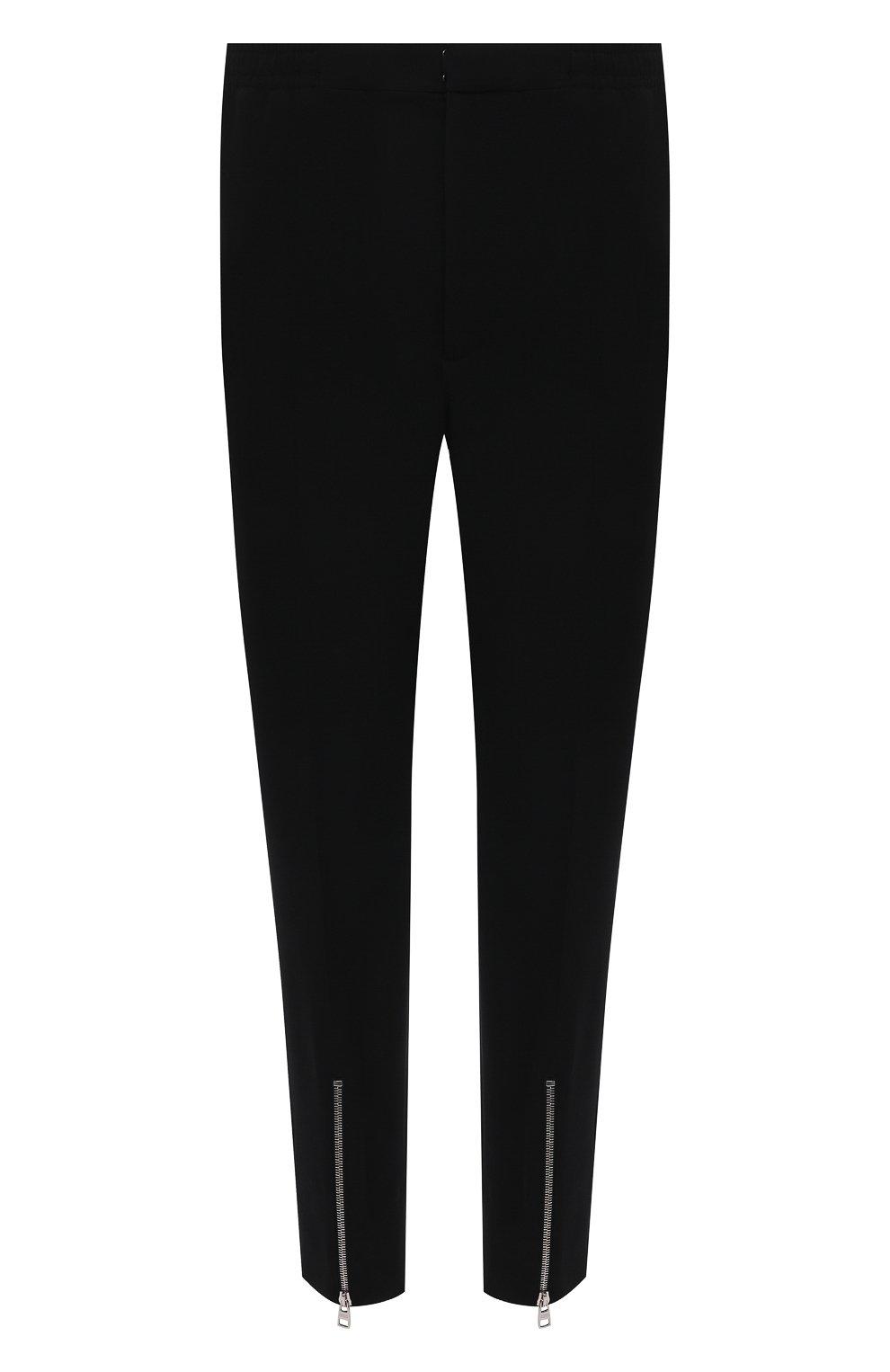 Мужские брюки из вискозы ALEXANDER MCQUEEN черного цвета, арт. 619171/QQR38   Фото 1 (Длина (брюки, джинсы): Стандартные; Случай: Повседневный; Стили: Панк; Материал внешний: Вискоза)