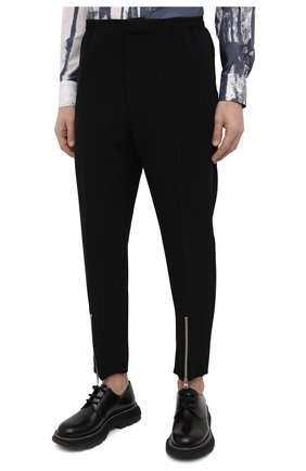 Мужские брюки из вискозы ALEXANDER MCQUEEN черного цвета, арт. 619171/QQR38   Фото 3 (Длина (брюки, джинсы): Стандартные; Случай: Повседневный; Стили: Панк; Материал внешний: Вискоза)