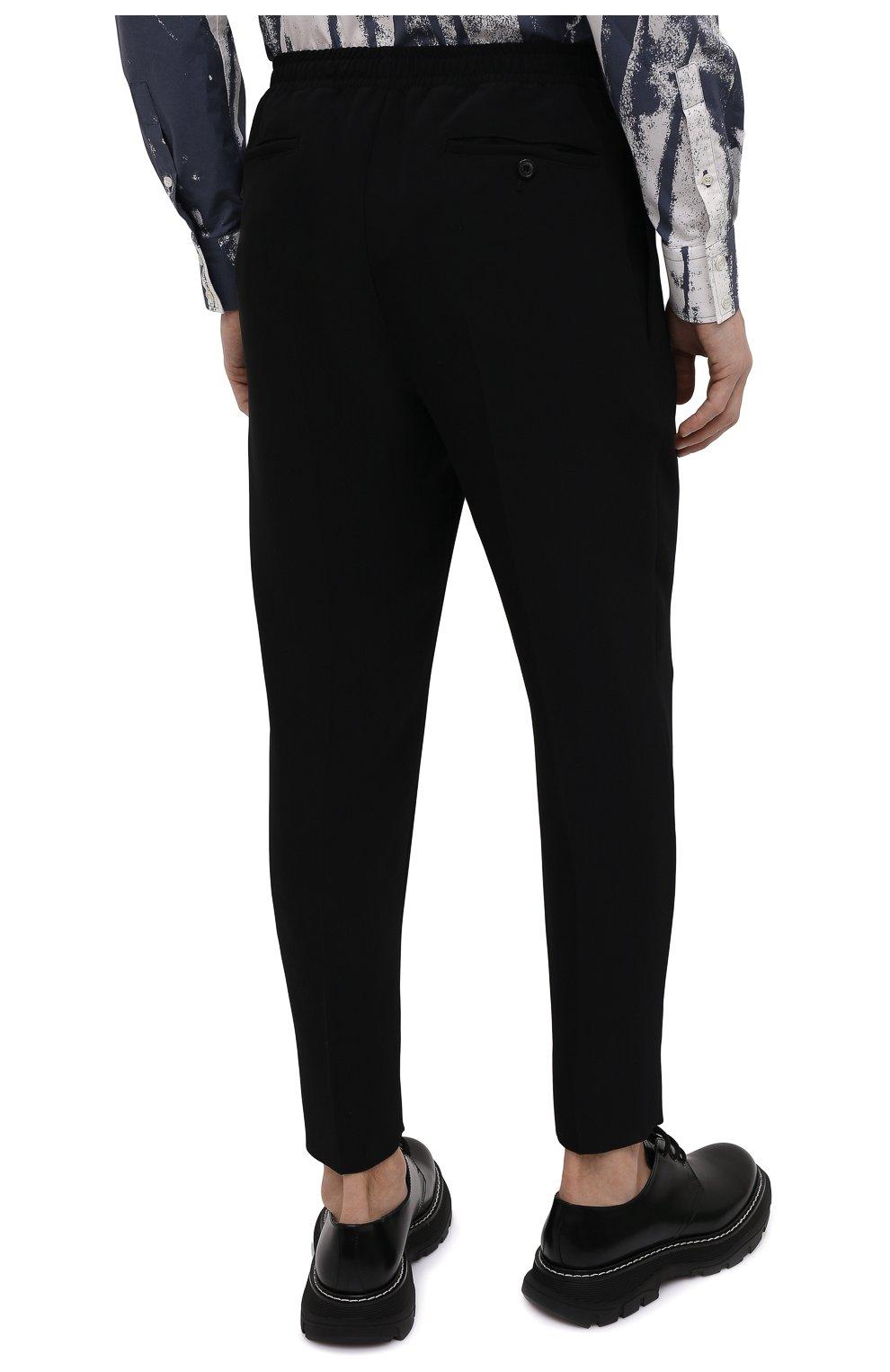 Мужские брюки из вискозы ALEXANDER MCQUEEN черного цвета, арт. 619171/QQR38   Фото 4 (Длина (брюки, джинсы): Стандартные; Случай: Повседневный; Стили: Панк; Материал внешний: Вискоза)