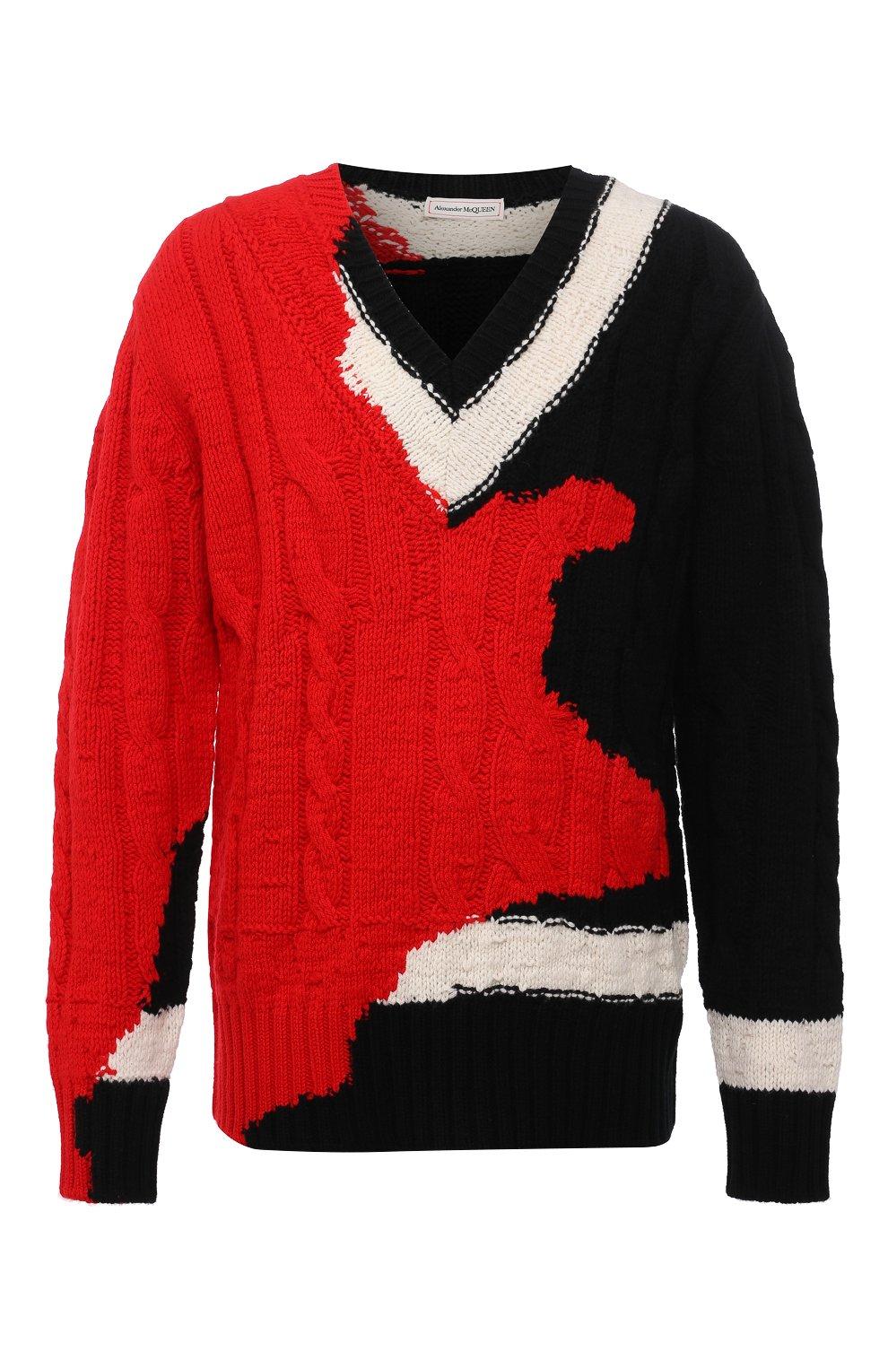 Мужской шерстяной свитер ALEXANDER MCQUEEN разноцветного цвета, арт. 651177/Q1ATN | Фото 1 (Материал внешний: Шерсть; Рукава: Длинные; Длина (для топов): Стандартные; Стили: Гранж; Принт: С принтом; Мужское Кросс-КТ: Свитер-одежда)