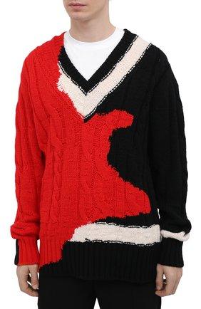 Мужской шерстяной свитер ALEXANDER MCQUEEN разноцветного цвета, арт. 651177/Q1ATN | Фото 3 (Материал внешний: Шерсть; Рукава: Длинные; Длина (для топов): Стандартные; Стили: Гранж; Принт: С принтом; Мужское Кросс-КТ: Свитер-одежда)