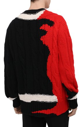 Мужской шерстяной свитер ALEXANDER MCQUEEN разноцветного цвета, арт. 651177/Q1ATN | Фото 4 (Материал внешний: Шерсть; Рукава: Длинные; Длина (для топов): Стандартные; Стили: Гранж; Принт: С принтом; Мужское Кросс-КТ: Свитер-одежда)