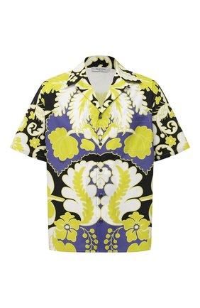 Мужская хлопковая рубашка VALENTINO разноцветного цвета, арт. VV3AAA907A0 | Фото 1 (Случай: Повседневный; Стили: Романтичный; Рукава: Короткие; Длина (для топов): Стандартные; Принт: С принтом; Материал внешний: Хлопок; Воротник: Отложной)