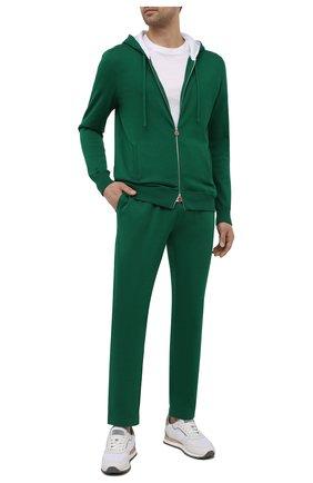 Мужские хлопковые брюки KITON зеленого цвета, арт. UK1051 | Фото 2 (Стили: Спорт-шик; Материал внешний: Хлопок; Случай: Повседневный; Длина (брюки, джинсы): Стандартные; Мужское Кросс-КТ: Брюки-трикотаж)