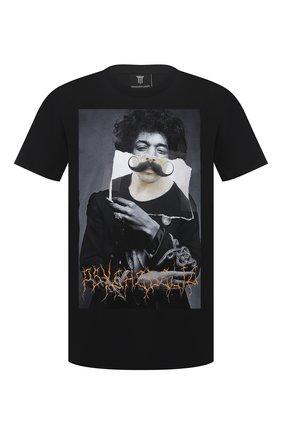 Мужская хлопковая футболка DIEGO VENTURINO черного цвета, арт. SS21-DV TS0 JHM | Фото 1
