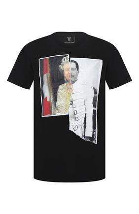 Мужская хлопковая футболка DIEGO VENTURINO черного цвета, арт. SS21-DV TS0 QEF | Фото 1