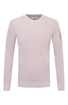 Мужской хлопковый свитер STONE ISLAND светло-розового цвета, арт. 7415507B1 | Фото 1