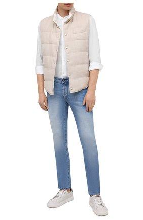 Мужская льняная рубашка Z ZEGNA белого цвета, арт. 905400/ZCSG1   Фото 2