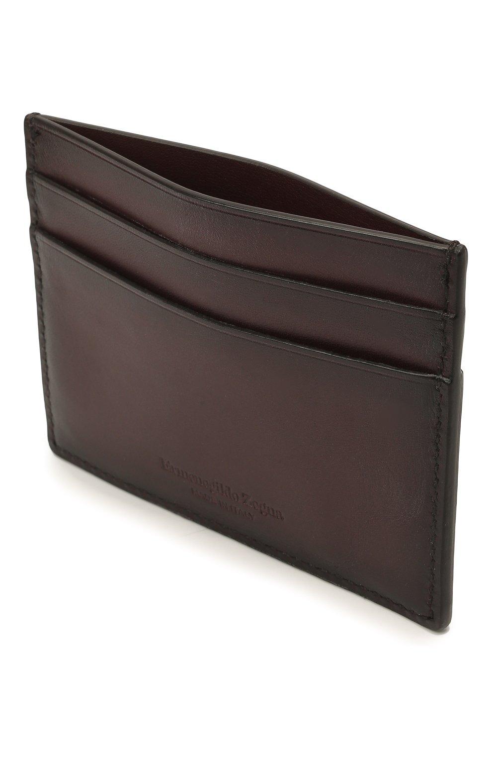 Мужской кожаный футляр для кредитных карт ERMENEGILDO ZEGNA бордового цвета, арт. E1139W-LHC0R | Фото 3