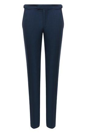 Мужские брюки из шерсти и шелка ERMENEGILDO ZEGNA темно-синего цвета, арт. 909F04/75AP12   Фото 1