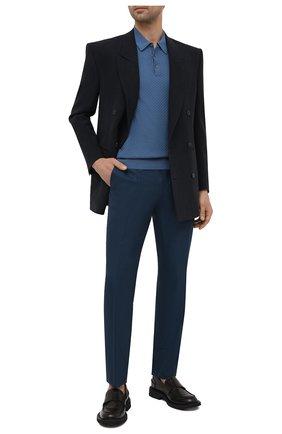 Мужские брюки из шерсти и шелка ERMENEGILDO ZEGNA темно-синего цвета, арт. 909F04/75AP12   Фото 2