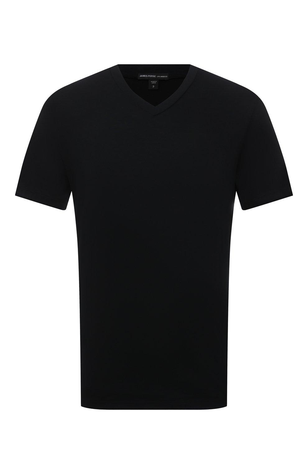 Мужская хлопковая футболка JAMES PERSE черного цвета, арт. MELJ3248 | Фото 1 (Принт: Без принта; Рукава: Короткие; Длина (для топов): Стандартные; Материал внешний: Хлопок; Стили: Кэжуэл)