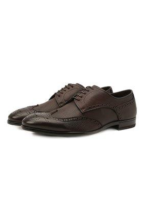 Мужские кожаные дерби H`D`S`N BARACCO темно-коричневого цвета, арт. 66206.7* | Фото 1 (Мужское Кросс-КТ: Броги-обувь; Стили: Классический; Материал внутренний: Натуральная кожа)