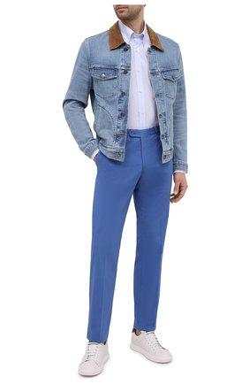 Мужская хлопковая рубашка PAUL&SHARK голубого цвета, арт. 21413266/C00 | Фото 2