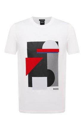 Мужская хлопковая футболка BOSS белого цвета, арт. 50449205   Фото 1