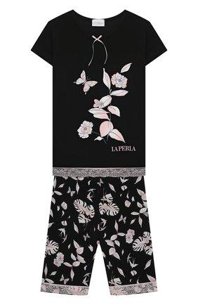 Детская пижама LA PERLA черного цвета, арт. 70201/8A-14A | Фото 1