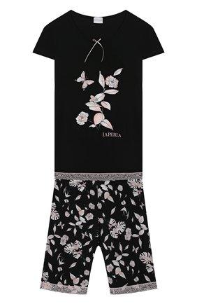 Детская пижама LA PERLA черного цвета, арт. 70201/2A-6A | Фото 1