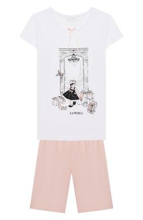 Детская хлопковая пижама LA PERLA белого цвета, арт. 70111/8A-14A | Фото 1