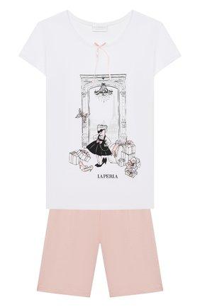 Детская хлопковая пижама LA PERLA белого цвета, арт. 70111/2A-6A | Фото 1