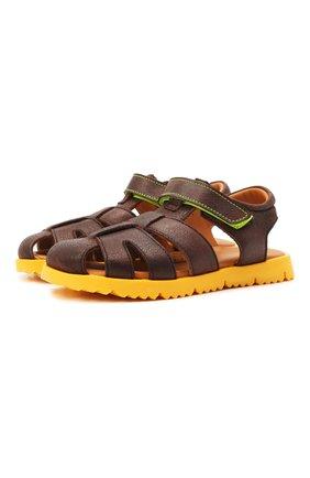 Детские кожаные сандалии RONDINELLA коричневого цвета, арт. 0824-1/4537/28-30 | Фото 1