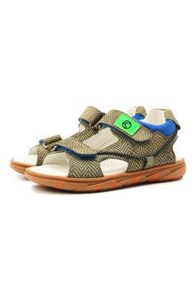Детские кожаные сандалии RONDINELLA хаки цвета, арт. 0986/6395/28-30 | Фото 1