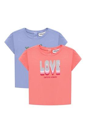 Детский комплект из двух футболок EMPORIO ARMANI кораллового цвета, арт. 3KED01/3J2IZ | Фото 1