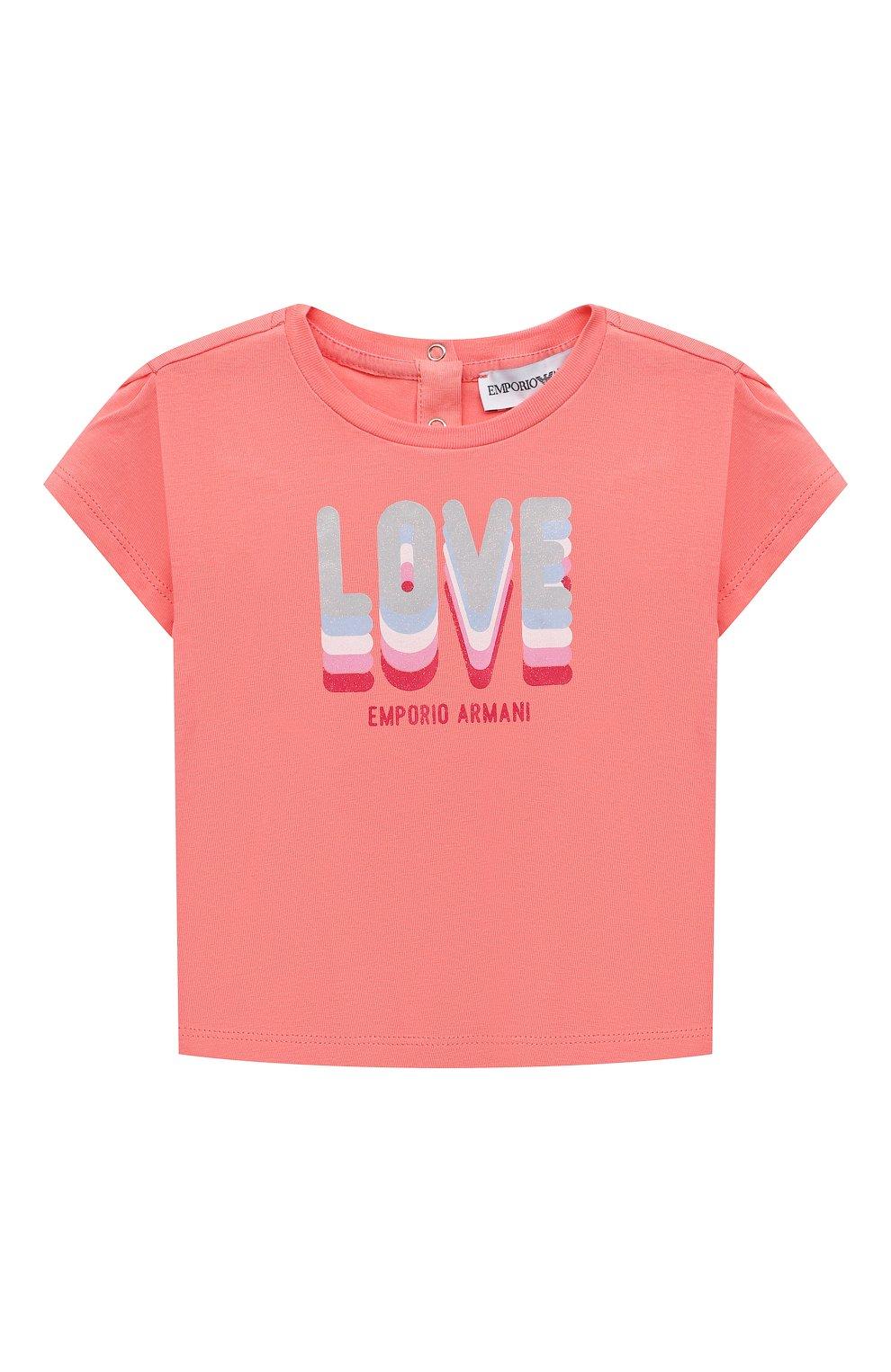 Детский комплект из двух футболок EMPORIO ARMANI кораллового цвета, арт. 3KED01/3J2IZ | Фото 2