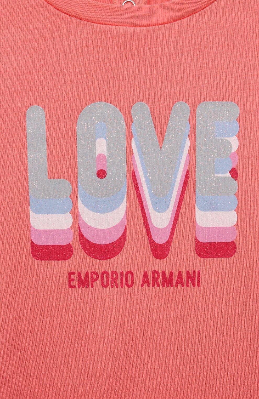 Детский комплект из двух футболок EMPORIO ARMANI кораллового цвета, арт. 3KED01/3J2IZ | Фото 4