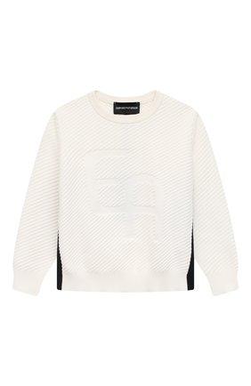 Детский хлопковый пуловер EMPORIO ARMANI белого цвета, арт. 3K4MXD/4M17Z | Фото 1
