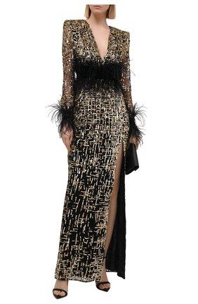 Женское платье с отделкой перьями ZUHAIR MURAD разноцветного цвета, арт. DRF21003/EMGT001   Фото 2 (Рукава: Длинные; Материал внешний: Синтетический материал; Женское Кросс-КТ: Платье-одежда; Длина Ж (юбки, платья, шорты): Макси; Материал подклада: Шелк; Случай: Вечерний; Стили: Гламурный)