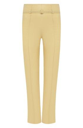 Женские кожаные брюки LORO PIANA желтого цвета, арт. FAL5454   Фото 1 (Силуэт Ж (брюки и джинсы): Прямые; Стили: Кэжуэл; Материал подклада: Шелк; Длина (брюки, джинсы): Укороченные; Женское Кросс-КТ: Брюки-одежда)