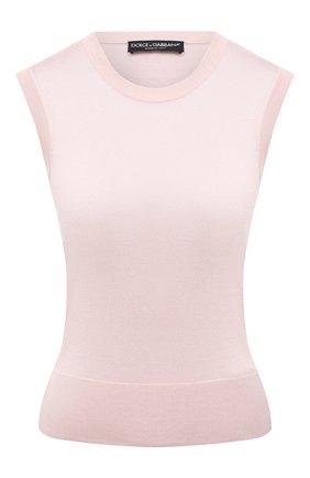 Женский шелковый топ DOLCE & GABBANA светло-розового цвета, арт. FX843T/JASMX | Фото 1