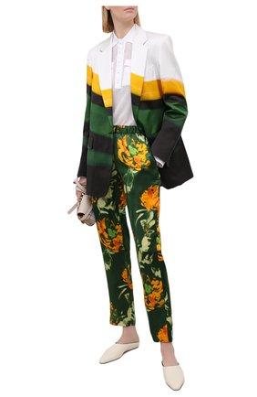 Женские брюки из вискозы и шелка DRIES VAN NOTEN зеленого цвета, арт. 211-30909-2089 | Фото 2
