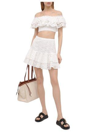 Женская хлопковая юбка CHARO RUIZ IBIZA белого цвета, арт. 213401 | Фото 2