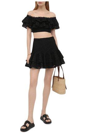 Женская хлопковая юбка CHARO RUIZ IBIZA черного цвета, арт. 213401 | Фото 2