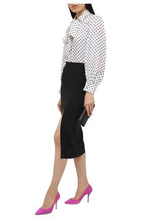 Женские текстильные туфли  DOLCE & GABBANA фуксия цвета, арт. CD1587/AW101   Фото 2