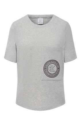 Женская хлопковая футболка CALVIN KLEIN серого цвета, арт. QS6601E | Фото 1