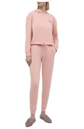Женские хлопковые брюки CALVIN KLEIN розового цвета, арт. QS6429E | Фото 2