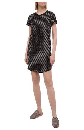 Женская хлопковая сорочка CALVIN KLEIN черного цвета, арт. QS6358E | Фото 2