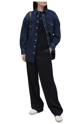 Женская хлопковая футболка LORENA ANTONIAZZI темно-синего цвета, арт. P2155TS024/9999   Фото 2