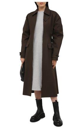 Женское хлопковое платье HELMUT LANG серого цвета, арт. K10DW601 | Фото 2