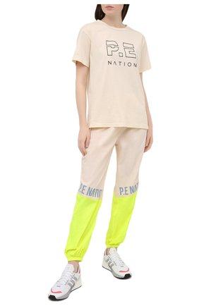Женская хлопковая футболка P.E. NATION бежевого цвета, арт. 20PE4T126 | Фото 2