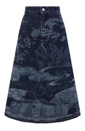 Женская джинсовая юбка REDVALENTINO темно-синего цвета, арт. VR3DD03S/5P0   Фото 1 (Кросс-КТ: Деним; Материал внешний: Хлопок; Женское Кросс-КТ: Юбка-одежда; Стили: Кэжуэл; Длина Ж (юбки, платья, шорты): Миди)