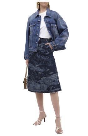 Женская джинсовая юбка REDVALENTINO темно-синего цвета, арт. VR3DD03S/5P0   Фото 2 (Кросс-КТ: Деним; Материал внешний: Хлопок; Женское Кросс-КТ: Юбка-одежда; Стили: Кэжуэл; Длина Ж (юбки, платья, шорты): Миди)